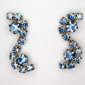 Vintage Blue Rhinestone Drop Earrings, Sparkle